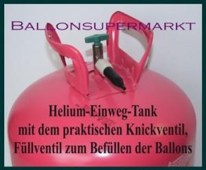 Heliumtank mit praktischem Knickventil. Durch Anknicken und Biegen entströmt das Heliumgas