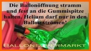 Ballon zum Befüllen mit Helium fest umschließen. Vermeiden Sie Verluste an Heliumgas.