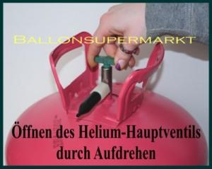 Öffnen des Haupventils am Helium-Einweg-Tank