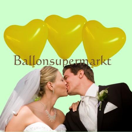Herzluftballons in Gelb