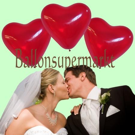 kristallrote Herzluftballons zur Hochzeit
