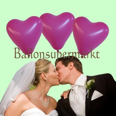 rosa Herzluftballons zur Hochzeit