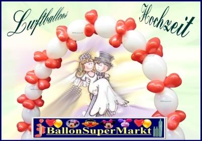 Luftballons Hochzeit, Hochzeitspaar mit Girlande aus Luftballons